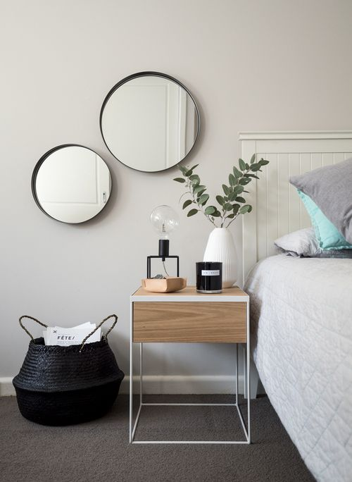 Bed inspo. Black white monochrome grey minimalist Scandinavia inspiration decor ideas round mirror