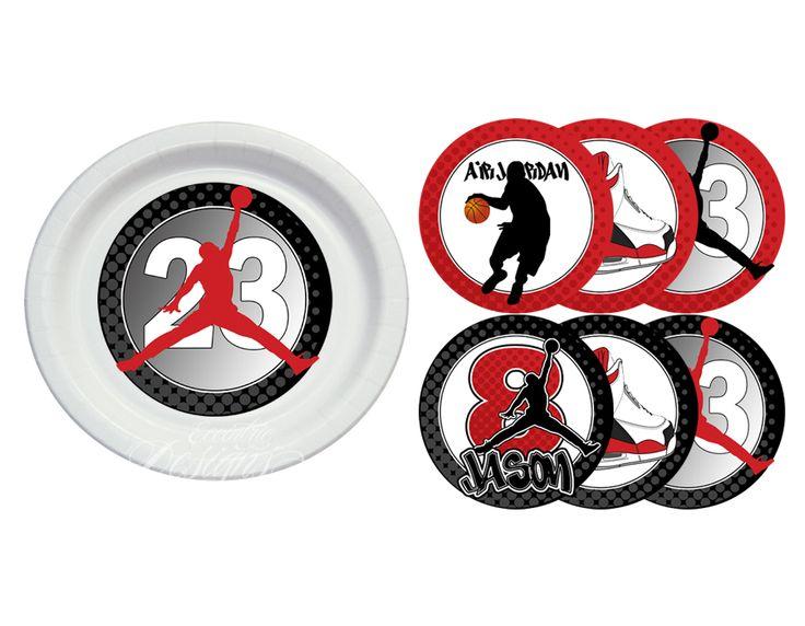 Air Jordan / Jumpman / Chicago Bulls / Michael Jordan - Plate Stickers (for a Baby Shower or Birthday Party) / Air Jordan Party / Air Jordan Party Theme / Air Jordan Party Ideas / Air Jordan Party Favors / Air Jordan Baby Shower / Air Jordan Baby / Air Jordan Baby Shower Theme
