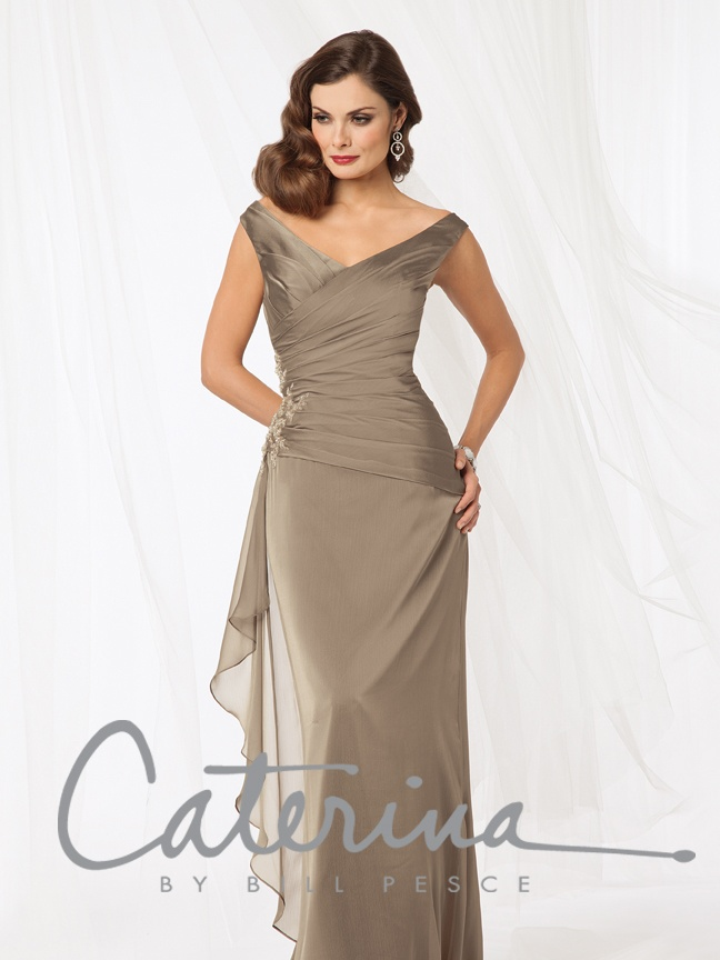 Style #8001: Shown in Bronze…Draped bodice with off shoulder neckline. Fluted skirt with side flounce and beaded accent. Available in tea and floor lengths.  Available in sizes 0-34 and petite sizes 0-34.