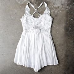 first lace winner microfiber romper - white - shophearts - 1