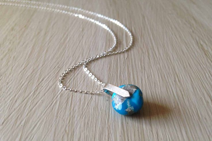 Turquoise necklace, hand made, sterling silver, jewelry