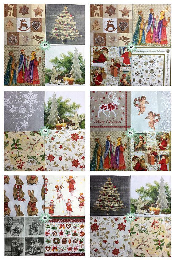 Christmas theme paper napkins various patterns decoupage