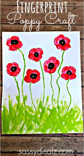 Fingerprint Poppy Flower Craft for Kids #Spring art project #Mothersday card idea
