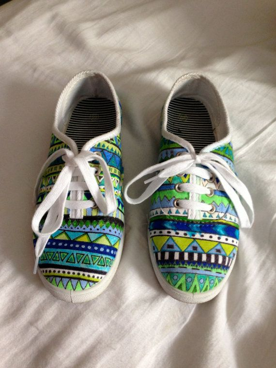 Pop of color canvas sneakers by kelseylandd on Etsy