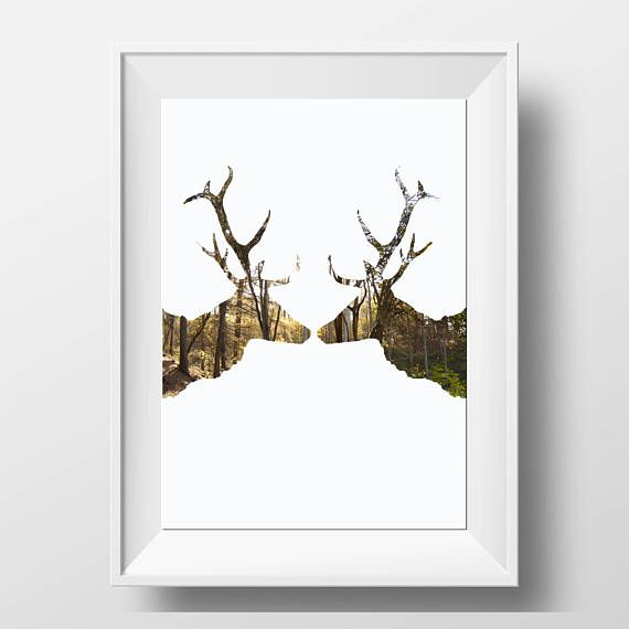 Stag Print - Scandi Art - Rustic Decor - Stag Head Wall Print - Deer Antler Print - Deer Head Print - Nature Lover Gift - Deer Lovers Gift