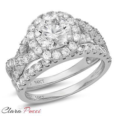 83616 jewelry 2.20 CT Round Cut Engagement Ring band set real 14k White Gold Bridal  BUY IT NOW ONLY  $236.99 2.20 CT Round Cut Engagement Ring band set real 14k White Gold Bridal...