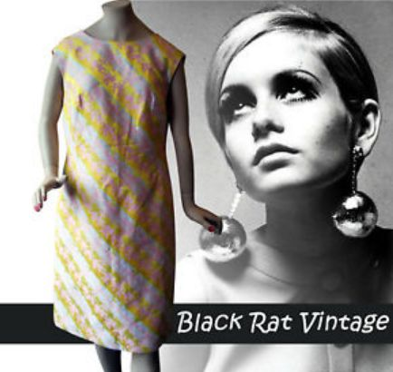 Vintage 1960s MOD Brocade Silver & Pink Cocktail Twiggy Bow Back SKA Dress