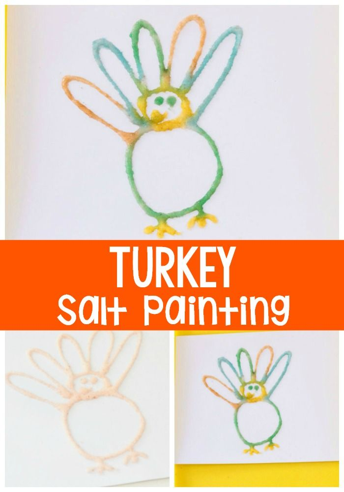 Create a turkey salt painting for Thanksgiving! Your kids will love this simple craft! via @lifeovercs