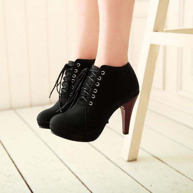 Round Toe Stiletto High Heel Lace Up Ankle Black Boots - these are kinda adorable