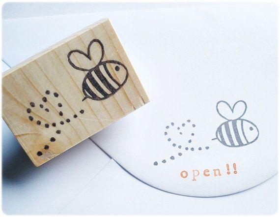 Honeybee stampHeart shape orbit bee stamp by JapaneseRubberStamps, £7.00
