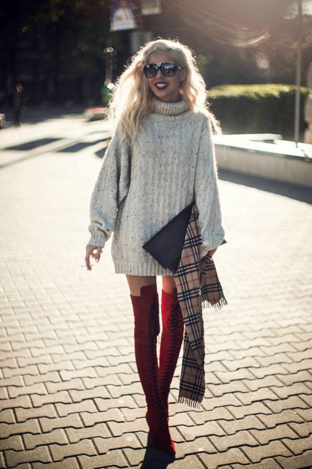 cute fall look - sweater dress high knee boots