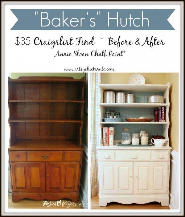 Baker's Hutch - Before and After - Annie Sloan Chalk Paint - artsychicksrule.com #budgetdecor #homedecor #chalkpaint
