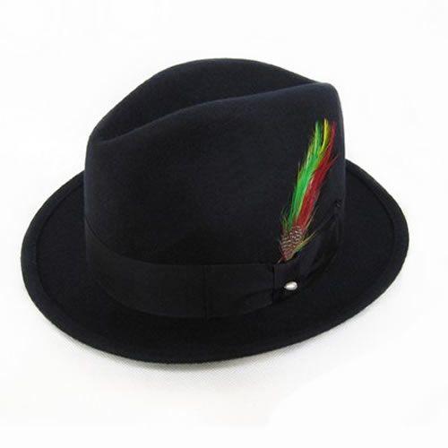 Buy Mens Black Wool Dress Winter Fedora Hat Hats for Men SKU-159018
