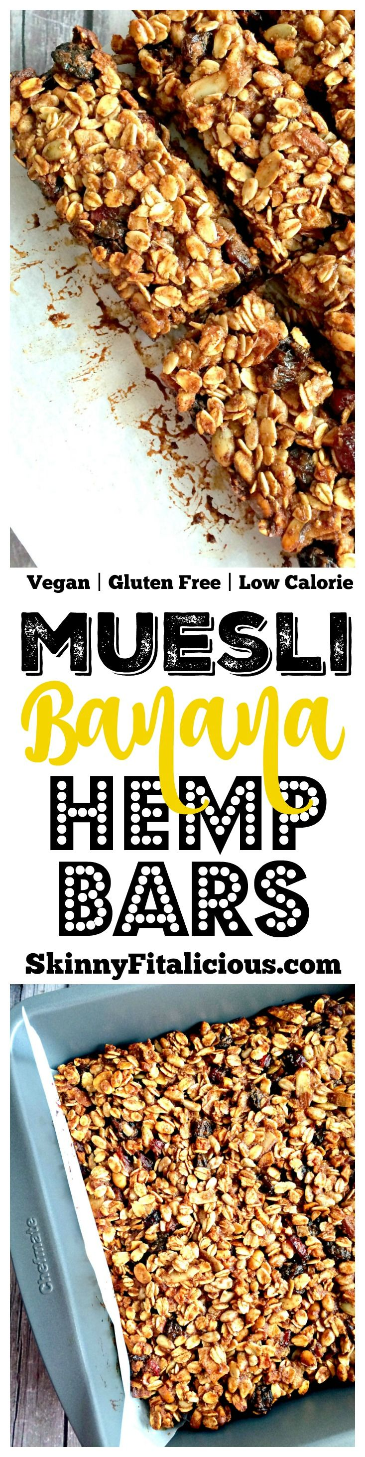 Homemade baked Muesli Banana Hemp Bars made with bananas, applesauce, hemp and muesli granola. A soon to be staple in your weekly meal prep, these easy snack bars are ones the whole family will love! Gluten Free + Low Calorie + Vegan