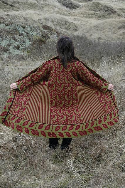 Machine knitted Turkish coat with bird pattern, from Flickr user Christel Seyfarth. no price. #putabirdonit #knitwear #gorgeousness