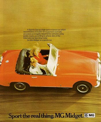 MG Midget Car Print 1971 Advertising Wall Art by RetroAdverts