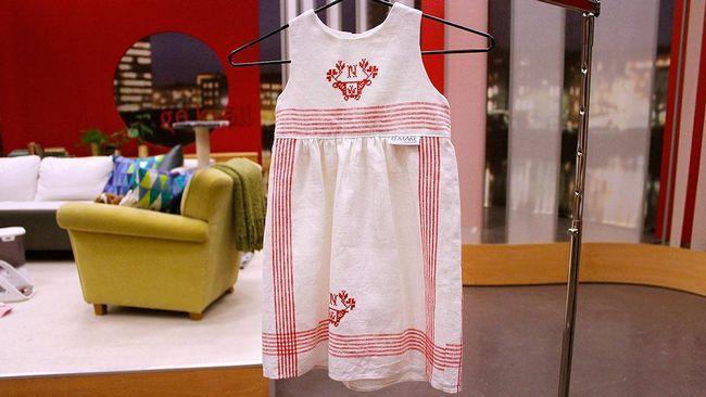 Go'kvälls expert på återbruk Marie Teike visar hur du lätt kan sy barnkläder av gamla kökshanddukar.