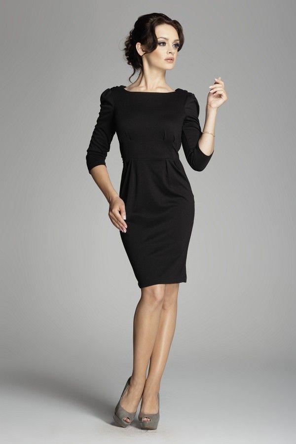 Magnifique robe noire, dos nu croisé, en maille milano