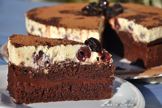 Tort cu visine si mousse de ciocolata | Retete culinare cu Laura Sava