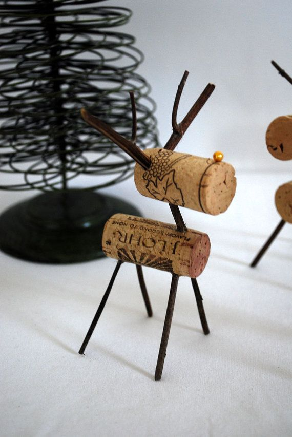 Upcycled Wine Cork Reindeer by upcyclingthegift on Etsy, $7.50: