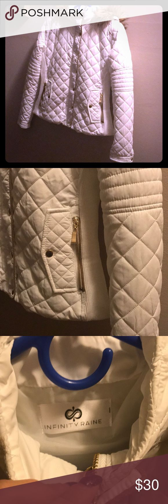 New bright white beautiful women's coat New by designer Infinity Raine. This jacket has it all. Perfect for layering. All gold hardware. Zip up front and snap button closure and side zip up pockets. Women's small left. Faux fur lined hood. Material tag in pic above! Infinity Raine Jackets & Coats