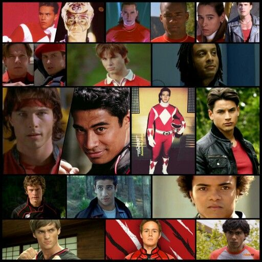 Jason Lee Scott, Austin St. John, Red Ranger, Tyrannosaurus, Power Rangers, Rocky DeSantos, Steve Cardenas, Andros, Christopher Khayman Lee, Carter Grayson, Sean CW Johnson, Shane Clarke, Pua Magasiva, Jack Landors, Brandon Jay McLaren, Nick Russell, Firass Dirani, Casey Rhodes, Jason Smith, Conner McKnight, James Napier, Troy Burrows, Andrew Gray