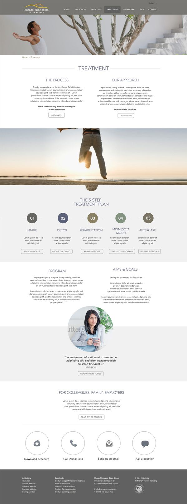 One page webdesign for Mirage