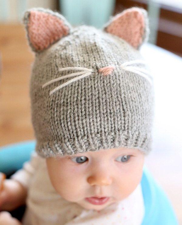 Шапка-котенок спицами для малыша | Knitting-Room