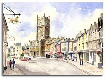 Print of watercolour painting of Cirencester, by artist Lesley Olver