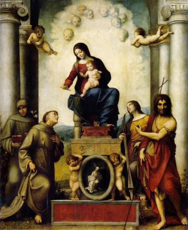 Madonna di San Francesco. 1514-1515. Gemäldegalerie Galerie Alte Meister Dresda. Commissionata dal Convento dei Frati Minori di Correggio