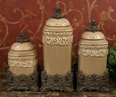 designer kitchen canister sets tuscan old world drake design large taupe kitchen canisters set of 3 ceramic canister set 6029