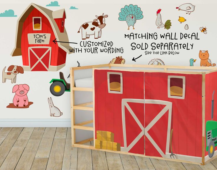 #Farm #Playhouse #Curtains #Barn #IkeaKura #LoftBed #KuraBed #Tent #BunkBed #Tractor #farmer #BunkBeds http://etsy.me/2BPk1DU #children #furniture #birthday #kid #ikeahakers #ikealicious #ikealover #barnyard