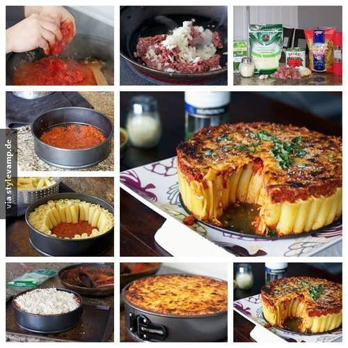 Nudelkuchen?!  Bilder folgen, nachmachen!  Hackfleisch anbraten & eine Soße Bolongnaise zaubern.  Unten in der Form verteilen & anschließend die Nudeln aufrecht hinstellen, bis alles bedeckt ist.  Käse darüber streuen & ab in den Backofen <3