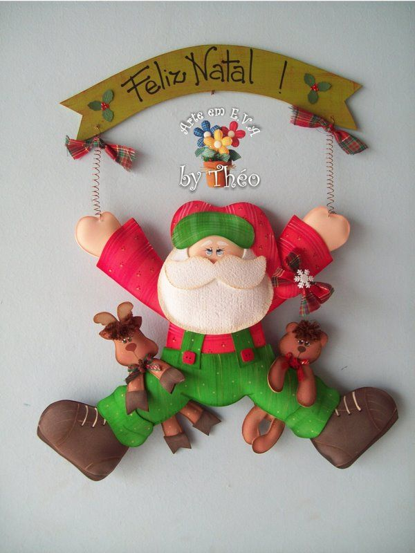 Molde+Santa+con+renos+en+fomi