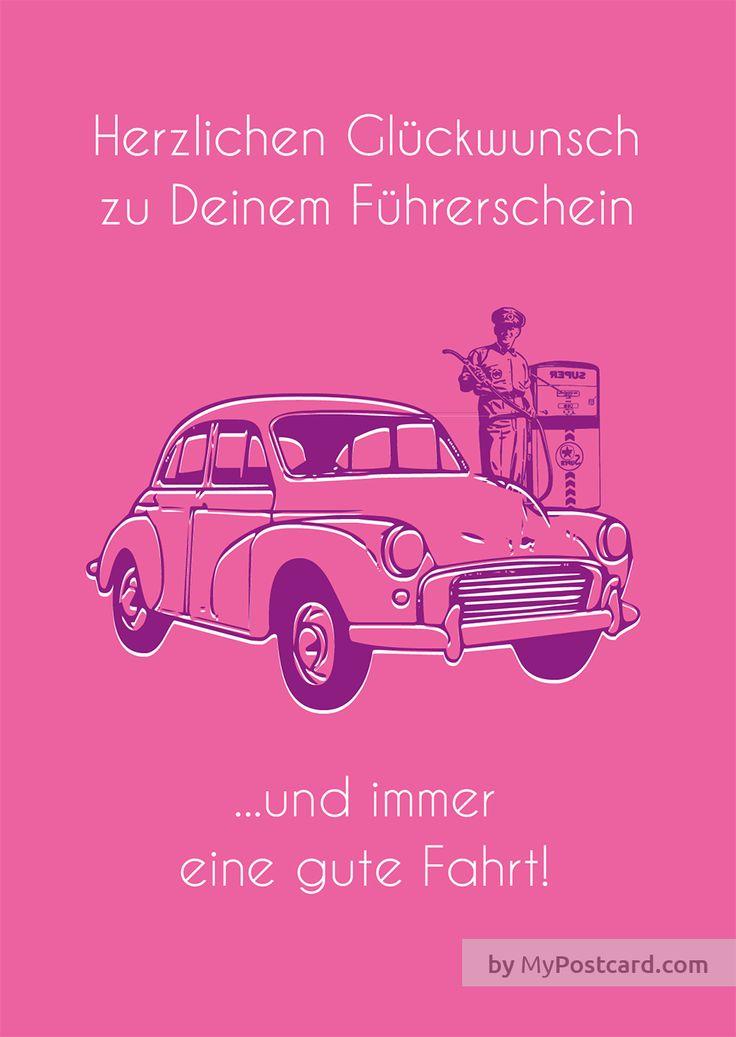 Herzlichen Glückwunsch zu Deinem Führerschein ...und immer eine gute Fahrt. In pink!