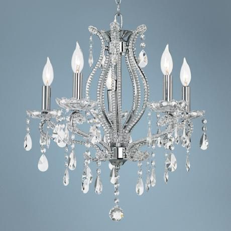 Clear Crystal and Chrome Five Light Chandelier  Main Floor Guest Room over bed?