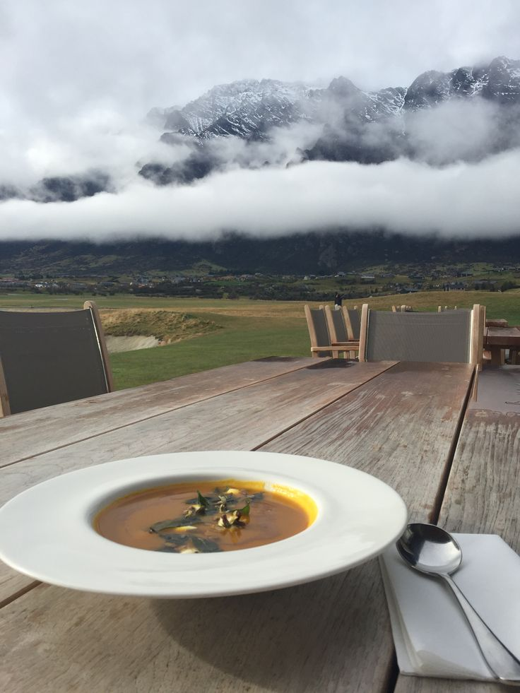 Pumpkin soup with a view of The Remarkables, Queenstown, NZ. Winter menu 2016.
