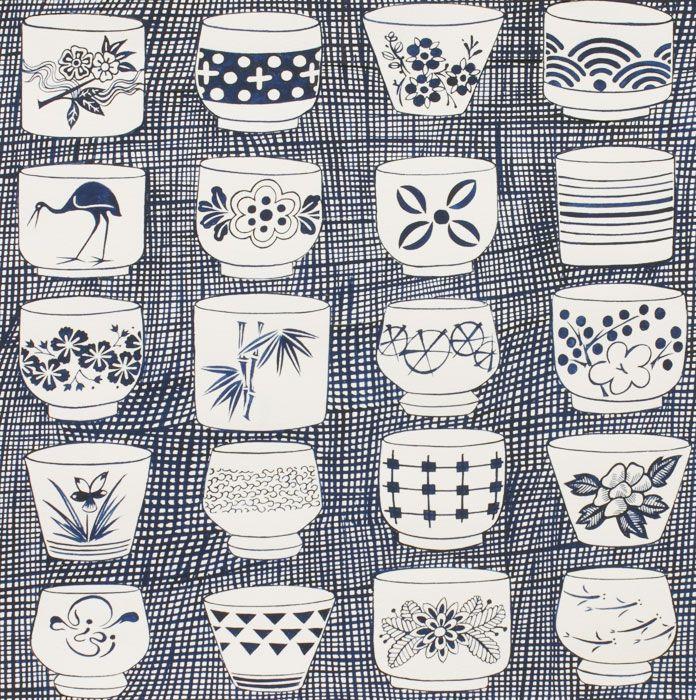 alexander henry/indochine/genmai tea cup indigo
