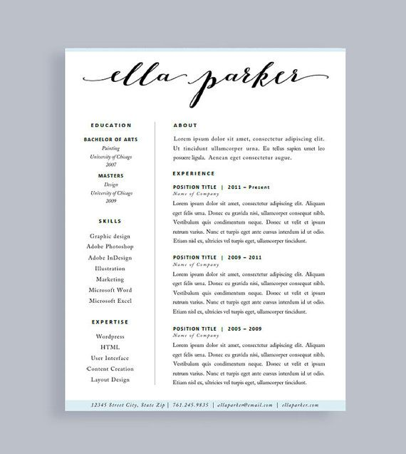 Resume Template | Made To Order Header | Instant Download | For Word and Pages | Free Cover Letter | One Page | Professional CV | Modern