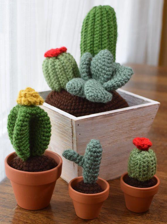 Crochet cactus garden in wooden planter by Dovahdearest on Etsy