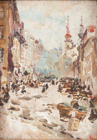 Oliva Viktor (1861–1928) | Zelný trh v Praze, 1885 | Aukce obrazů, starožitností | Aukční dům Sýpka