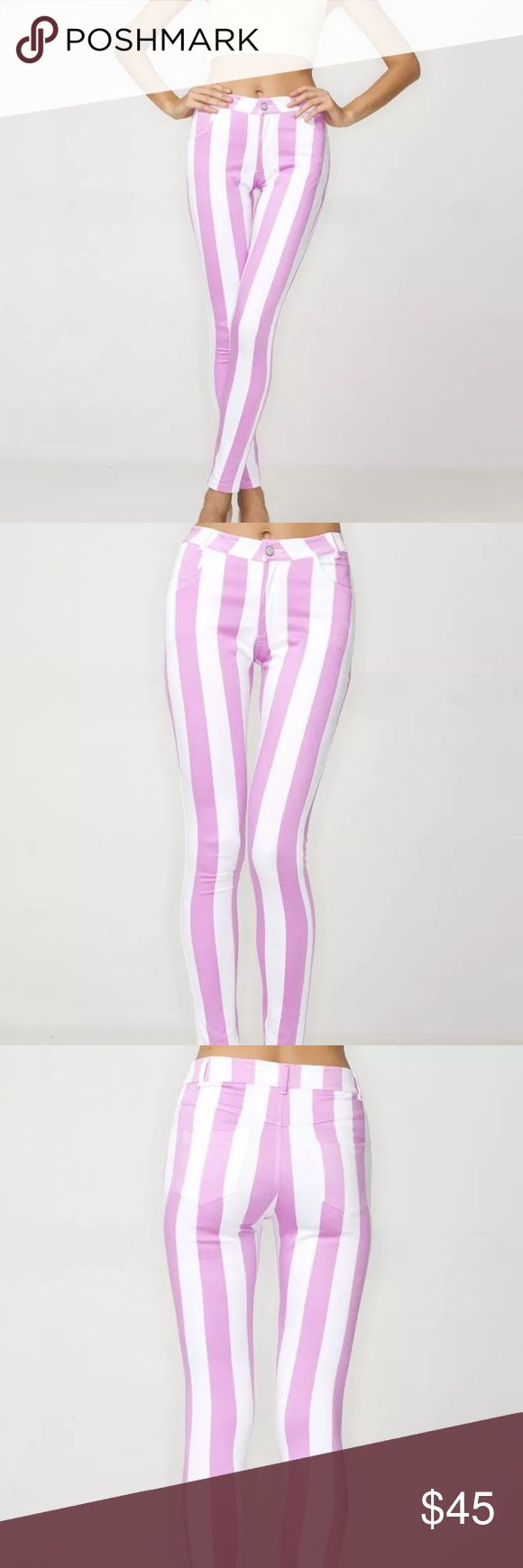 NWOT Motel Rocks Skinny Striped Pants Jeans MOTEL CLOTHING  NEW, never worn!  Amazing statement stretch skinny jeans in a sugary candy pink and white vertical stripe material. These pastel pink Jordan jeans have a high waist and are in a flattering skinny fit, with side and back pockets. Team these striped Motel jeans with ankle boots or a wedge to elongate the leg even further.  Size: Small (fits like a womens 25-27) Material:86% Rayon, 14% Polyester   Model in pictures wears S - Model…