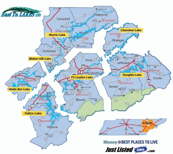 Lakes In East Tennessee Map Lakes Lake Lots And Lake Homes For - Map of east tn