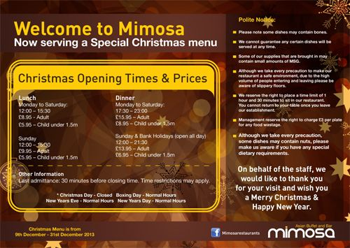 Mimosa - Christmas menu