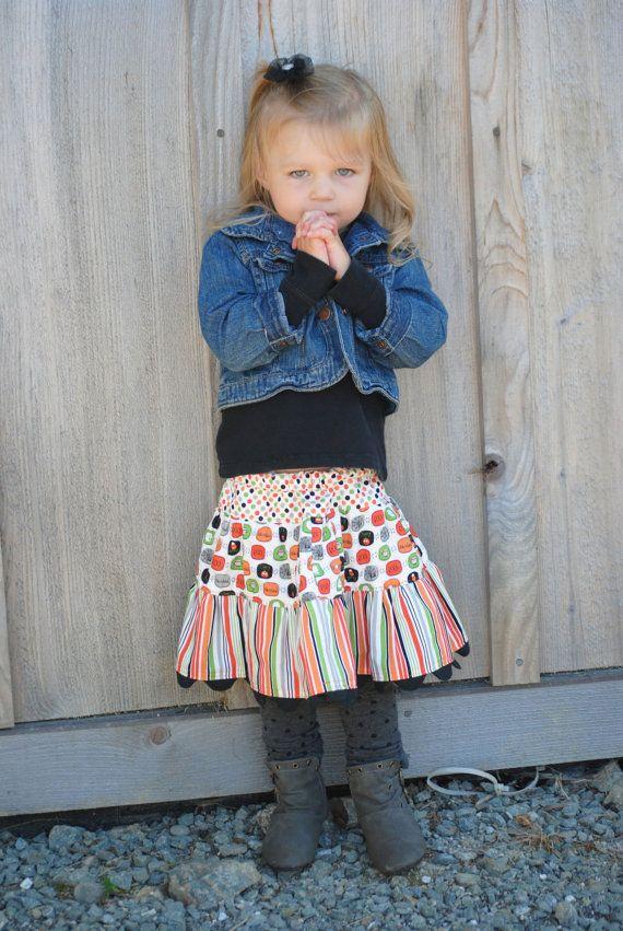 Halloween Girl's Twirl Skirt Polka Dots by KelleenKreations, $25.00