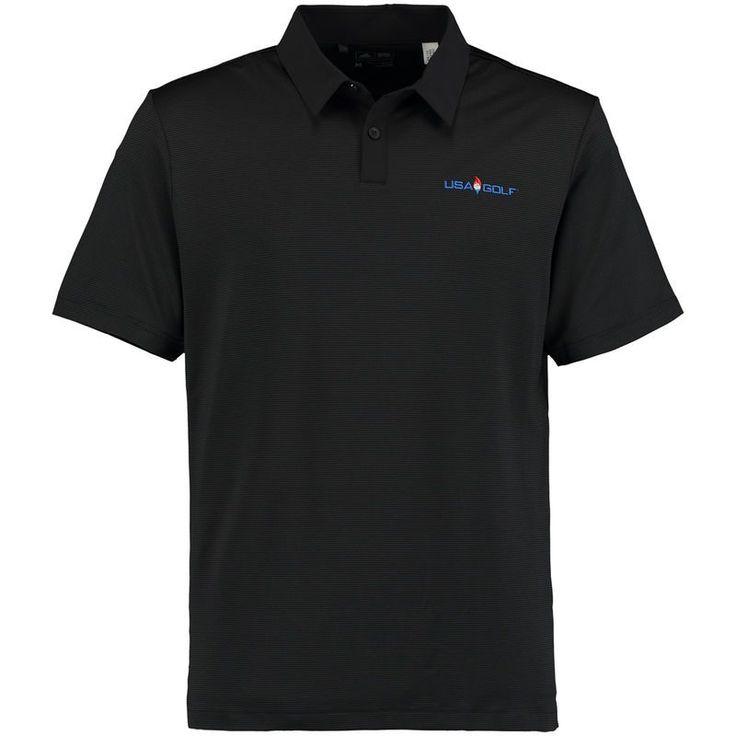 USA Golf adidas Climacool Tonal Stripe Polo - Black