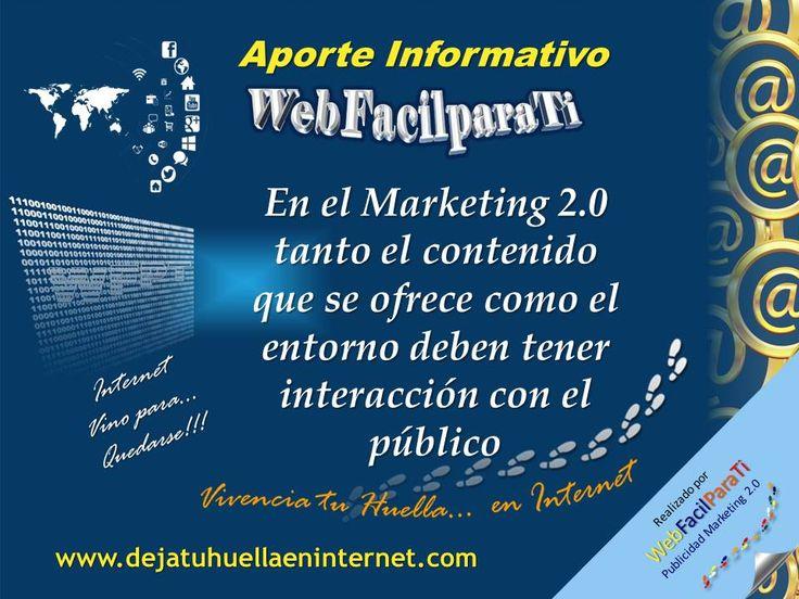 En las Campañas de Marketing 2.0 existe un contenido atractivo y un entorno donde el público pueda recibir la información. En WebFacilParaTi, generamos Cultura Internet