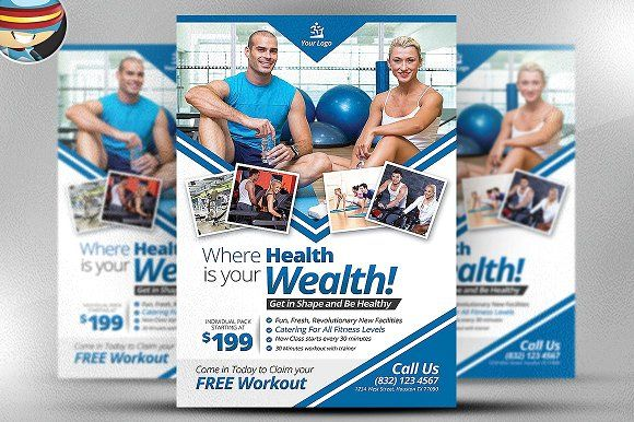 Fitness Flyer Template by FlyerHeroes on @creativemarket