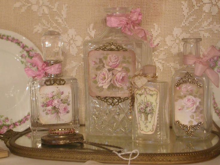 Beautiful rose embellished bottles.....