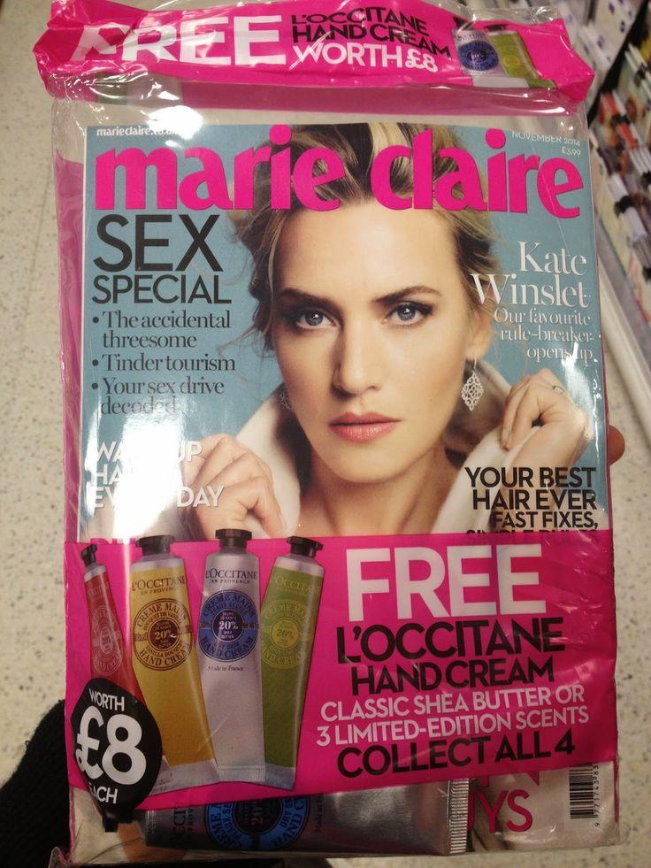 Krem do rąk L'Occitane jako dodatek do marie claire w UK, zdjęcie z bloga agisboutique.blogspot.com, post pt: Kilka prasowych dodatków w październiku